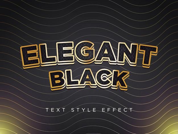 Efecto de estilo de texto elegante negro con bordes dorados