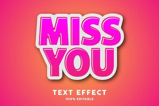 Efecto de estilo de texto de etiqueta rosa fresca