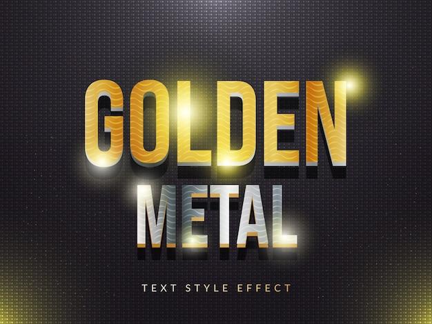 Efecto de estilo de texto de metal dorado 3d