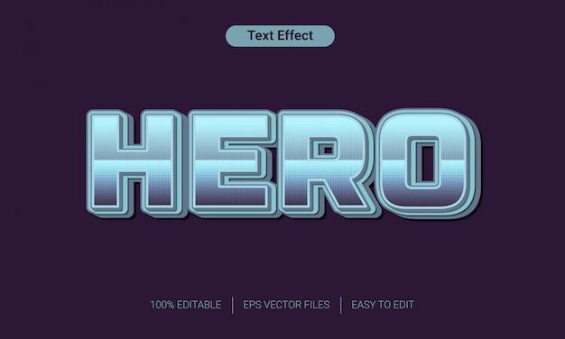 Efecto de estilo de texto de metal de héroe 3d