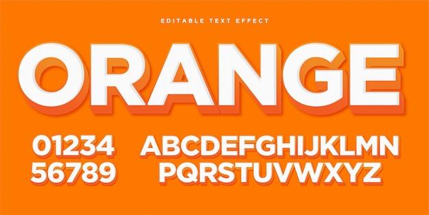 Efecto de estilo de texto naranja 3d