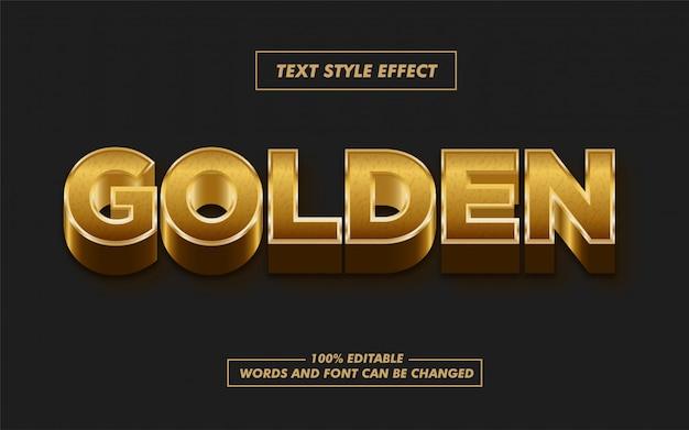 Efecto de estilo de texto en negrita 3d dorado