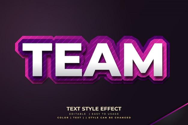 Efecto de estilo de texto en negrita 3d para el equipo de deporte electrónico con degradado púrpura