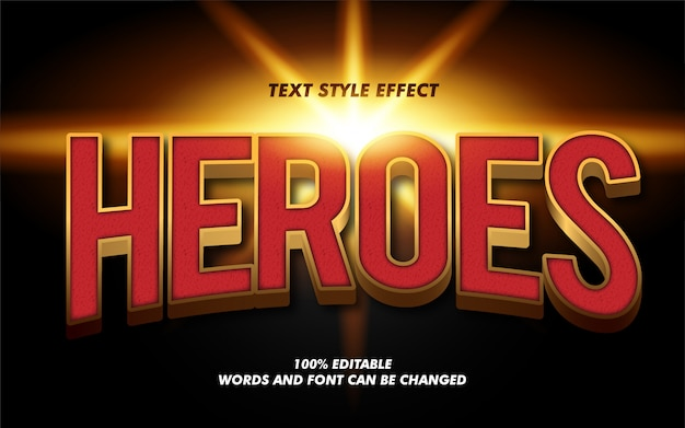 Efecto de estilo de texto en negrita 3d modern heroes