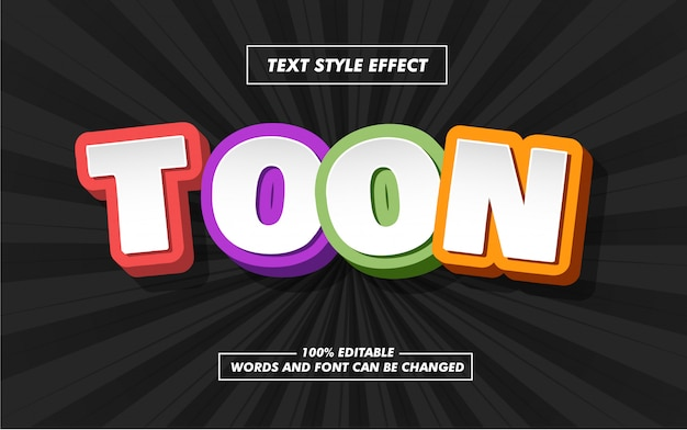 Efecto de estilo de texto en negrita de dibujos animados