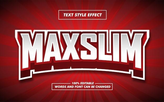 Efecto de estilo de texto en negrita e sport rojo