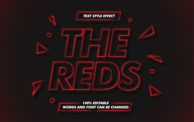 Efecto de estilo de texto en negrita de línea roja