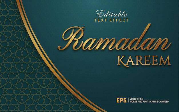 Efecto de estilo de texto de ornamento de ramadan kareem de oro de lujo
