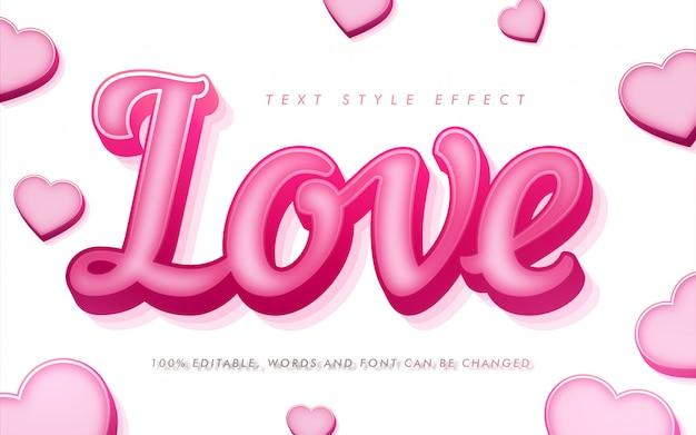 Efecto de estilo de texto rizado de amor para el día de san valentín