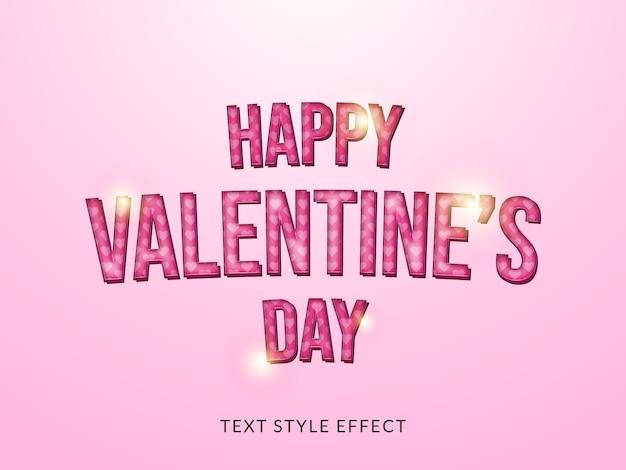 Efecto de estilo de texto de san valentín en 3d con textura de amor y color rosa