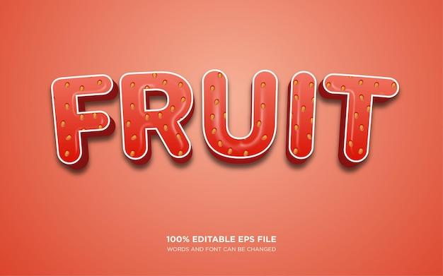 Efecto de estilo de texto de strawberry fruit 3d