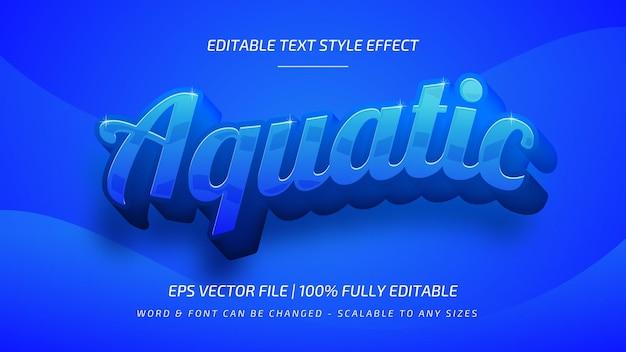 Efecto de estilo de texto de vector 3d acuático. estilo de texto de ilustrador editable.