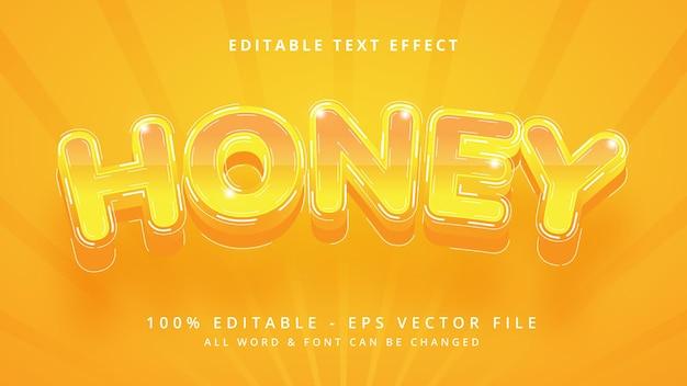 Efecto de estilo de texto de vector 3d editable de miel. estilo de texto de ilustrador editable.
