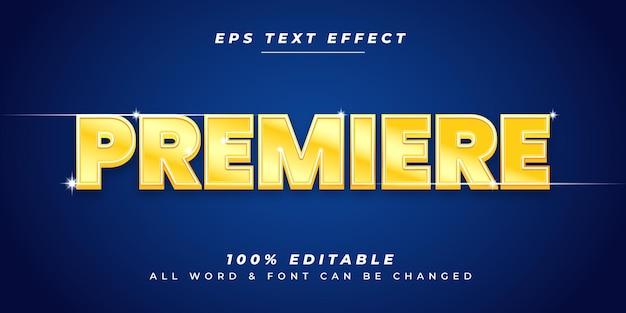 Efecto de estilo de texto de vector 3d editable de película de estreno. estilo de texto de ilustrador editable.
