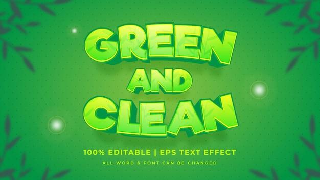 Efecto de estilo de texto vectorial 3d editable verde y limpio. estilo de texto de ilustrador editable.