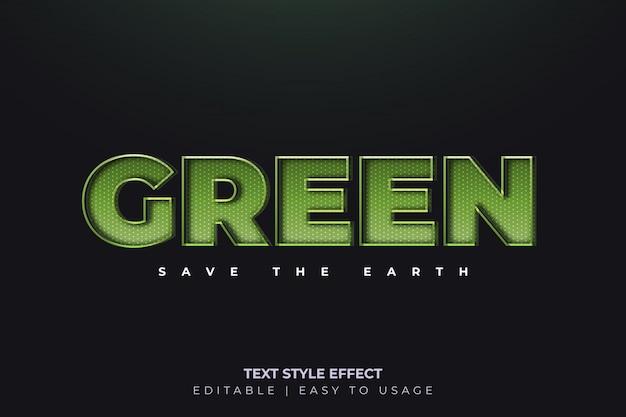 Efecto de estilo de texto verde 3d con líneas brillantes