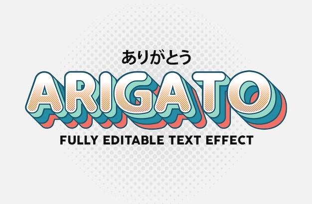 Efecto de estilo de tipografía de texto lindo ordenado arigato