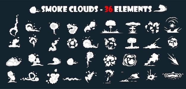 Efecto de explosión. nube de humo de polvo. humo cómico. vfx de bocanadas de humo, efecto de explosión de energía. bombas detonadores de dinamita. nubes de humo, soplo, niebla, plantilla de efectos de niebla.