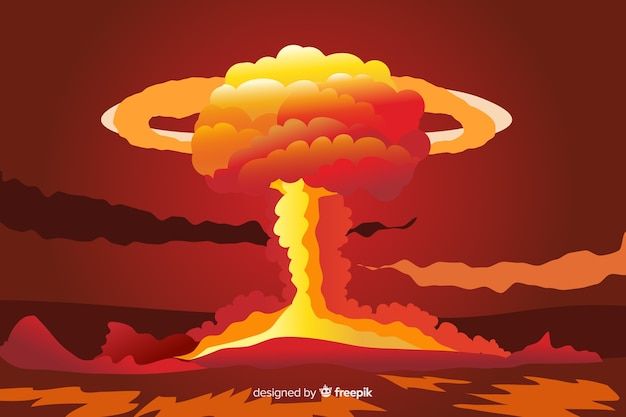 Efecto explosión nuclear estilo dibujos animados