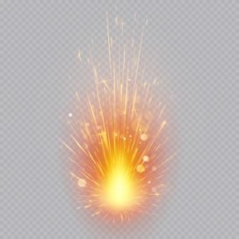 Efecto de fuegos artificiales. chispas voladoras. movimiento mágico.
