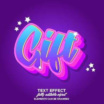 Efecto de fuente 3d colorido para etiqueta