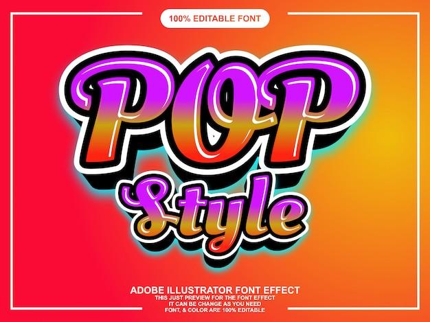 Efecto de fuente colorido estilo de escritura estilo pop
