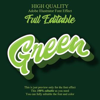 Efecto de fuente editable estilo de escritura verde