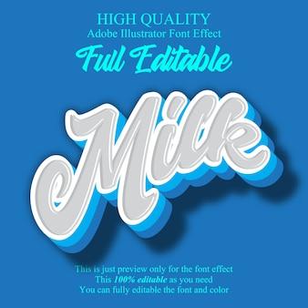 Efecto de fuente editable estilo script de leche