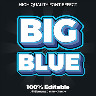 Efecto de fuente editable de estilo de texto azul negrita grande