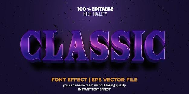 Efecto de fuente editable estilo de texto clásico púrpura