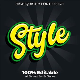 Efecto de fuente editable de estilo de texto de etiqueta de estilo de script
