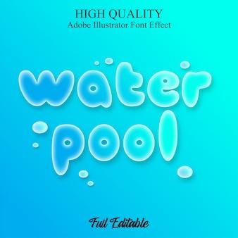 Efecto de fuente editable de estilo de texto de piscina de agua azul