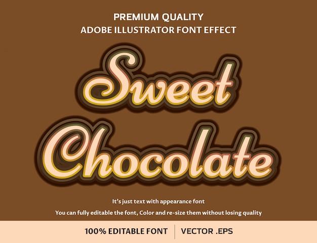 Efecto de fuente editable fácil de chocolate dulce