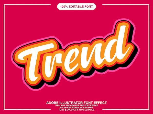 Efecto de fuente editable de script de tendencia plana