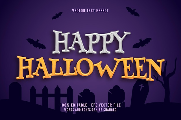 Efecto de fuente editable de texto feliz halloween