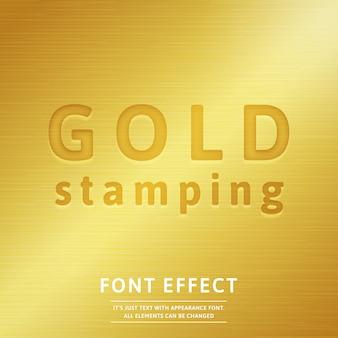 Efecto de fuente de estampado dorado 3d con relleno de metal dorado realista