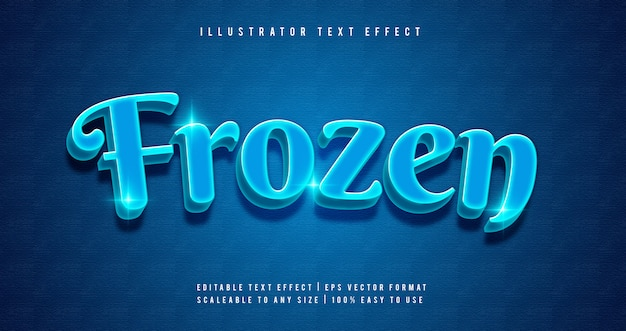 Efecto de fuente de estilo de texto azul brillante congelado