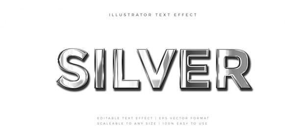 Efecto de fuente de estilo de texto de cromo plateado realista