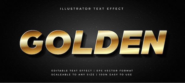 Efecto de fuente de estilo de texto de título de cromo dorado