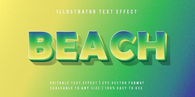Efecto de fuente de estilo de texto vibrante tropical playa