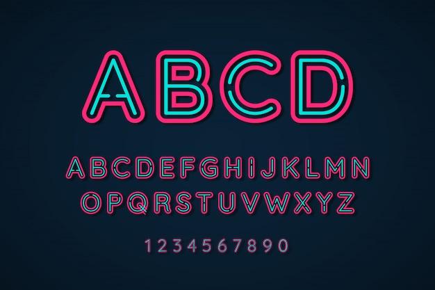 Efecto de fuente extra brillante de alfabeto de luz de neón 3d