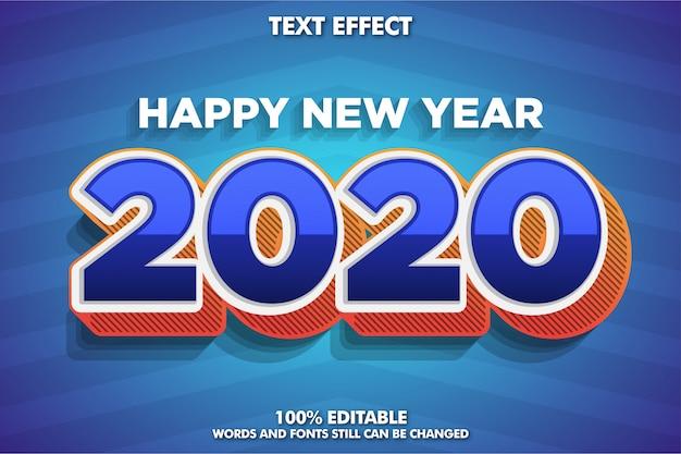 Efecto de fuente moderna para banner de año nuevo, 2020