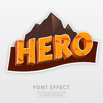 Efecto de fuente de montaña de logotipo de héroe 3d