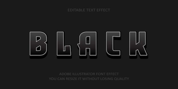 Efecto de fuente de texto de vector negro