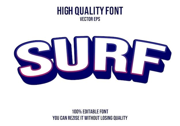 Efecto de fuente de texto de vector de surf