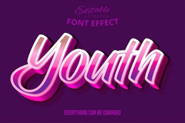 Efecto de fuente de tipografía editable de escritura juvenil moderna