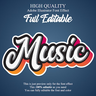 Efecto de fuente de tipografía editable de guión de música moderna