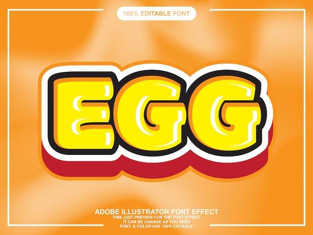 Efecto de fuente de tipografía editable lindo texto de huevo negrita
