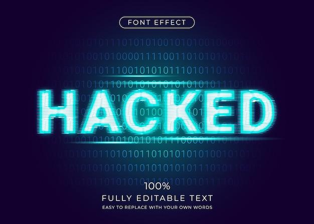 Efecto de hacker glitch con fondo de código binario digital. estilo de fuente editable