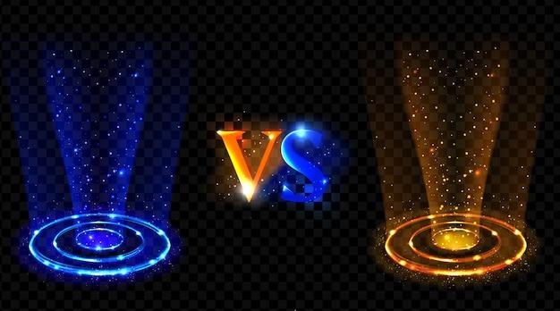 Efecto holograma vs círculos. neón versus rayos redondos